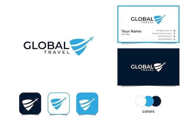 Viajes globales modernos con logotipo de avión y tarjeta de visita.
