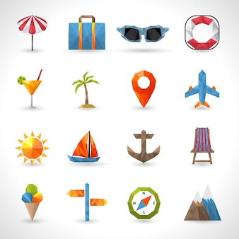 Viajes iconos poligonales