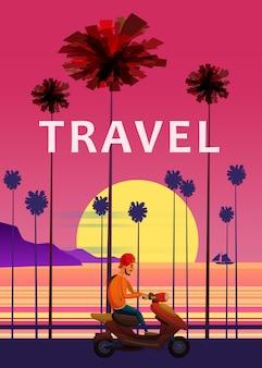 Viajes, ilustración de viaje. puesta de sol, océano, mar, paisaje marino surfing van bus en carretera palm