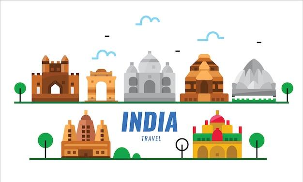 Viajes a india escena de puntos de referencia. cartel plano y elementos de banner.