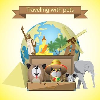 Viajes mascotas. con mascotas, maleta y fondo de monumentos del mundo.