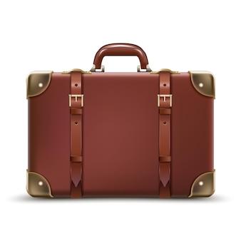 Viajes negocios equipaje marrón en cuero aislado sobre fondo blanco.