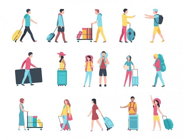 Viajes personas. los pasajeros del equipaje turístico del aeropuerto comprueban la cola de la terminal de control de pasaportes. personas con equipaje