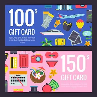 Viajes planos elementos descuento o regalo tarjeta vale plantillas ilustración