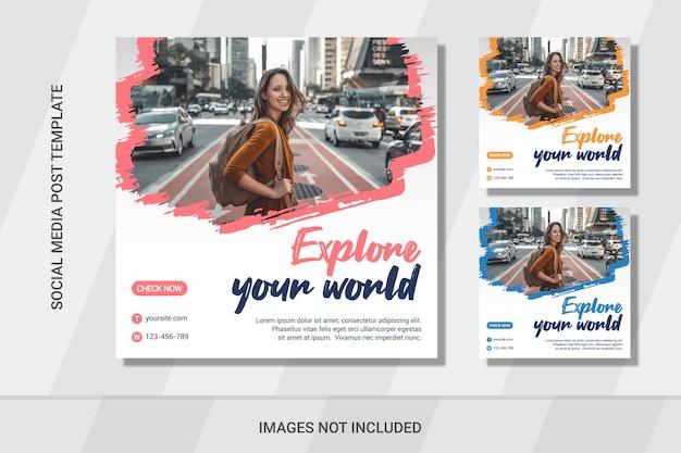 Viajes plantillas de conjunto de publicaciones de redes sociales