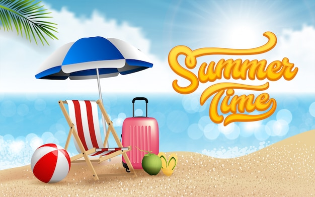 Viajes realistas y vacaciones de verano en la playa relajarse diseño de carteles. la isla está rodeada, mar, playa, sombrilla, coco, nubes, pelota, equipaje, silla de playa