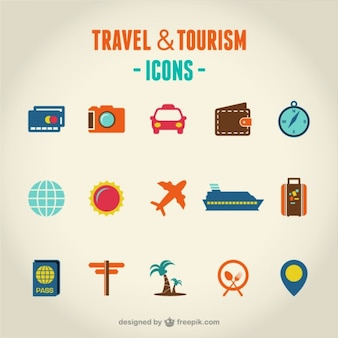 Viajes y turismo conjunto de iconos