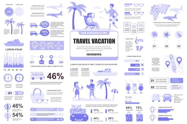 Viajes vacaciones elementos infográficos diagramas de gráficos diferentes diagrama de flujo de flujo de trabajo línea de tiempo