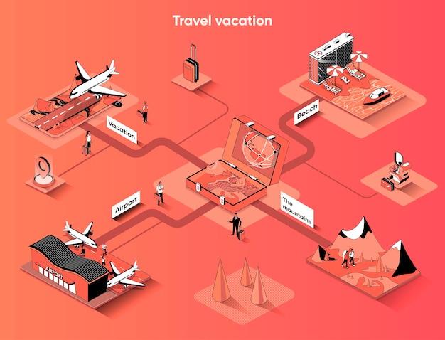 Viajes vacaciones isométrica web banner isometría plana