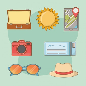 Viajes vacaciones set iconos