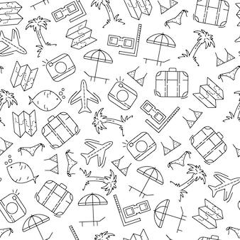 Viajes vacaciones de verano elementos dibujados a mano de patrones sin fisuras