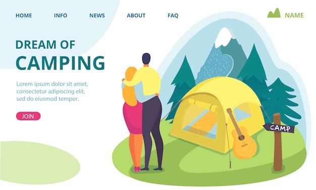 Viajes de verano en la naturaleza, camping sueño ilustración. el carácter de la gente sueña con un viaje de vacaciones. estilo de vida . pareja en turismo forestal, fondo de aventura romántica.