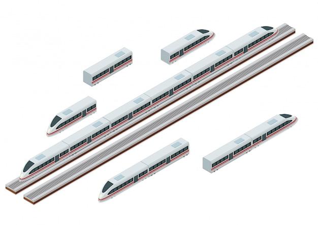 Vías de tren isométricas y moderno tren de alta velocidad.