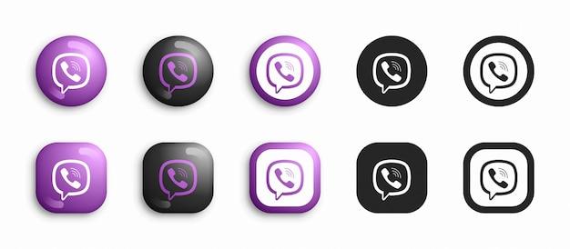 Viber modern 3d y conjunto de iconos flat