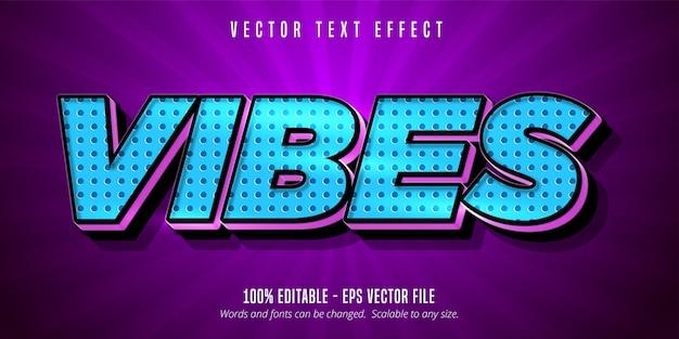 Vibes text, efecto de texto editable de estilo de dibujos animados