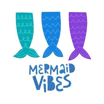 Vibraciones de sirena letras dibujadas a mano colas de sirena ilustración vectorial estilo de dibujos animados doodle