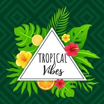 Vibraciones tropicales con fondo abstracto geométrico y tribal