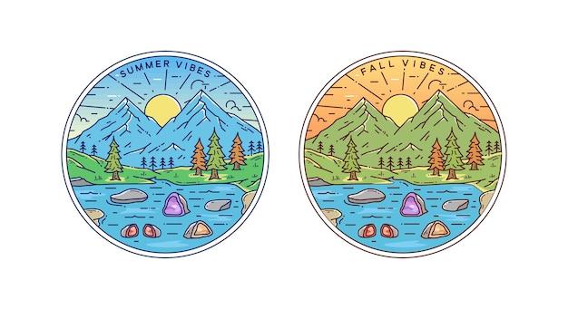 Vibraciones de verano y otoño en el punto de geoda natural dibujando la insignia monoline