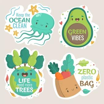 Vibraciones verdes y cero insignias ecológicas dibujadas a mano de plástico