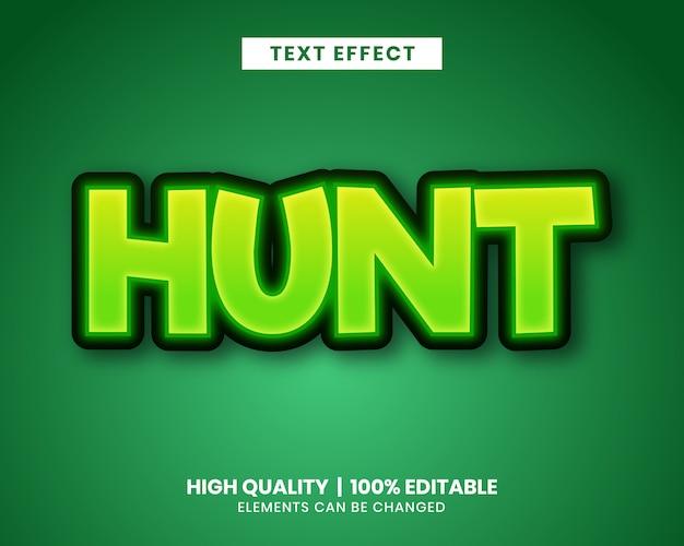 Vibrante efecto de texto en color verde para el título del juego