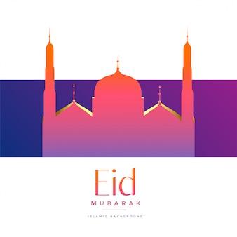 Vibrante hermosa mezquita para eid festival de mubarak