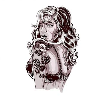 Vibrante mujer rockabilly con tatuaje en los brazos