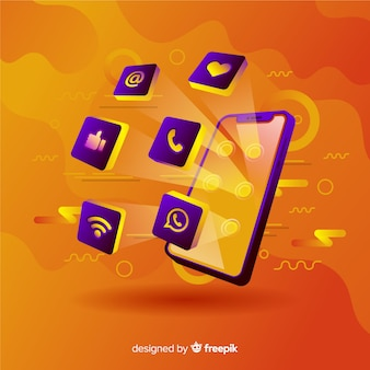 Vibrante teléfono móvil antigravedad con elementos