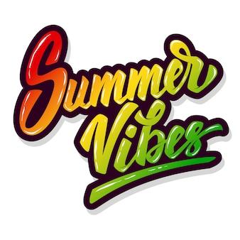 Vibras de verano. frase de letras dibujadas a mano sobre fondo blanco. elemento para póster, volante. ilustración