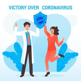 Victoria ilustrada sobre el concepto de coronavirus