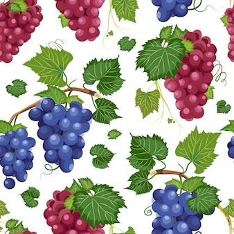 Vid de uva de patrones sin fisuras y hojas