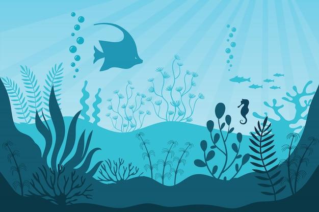 La vida del acuario. siluetas de arrecifes de coral