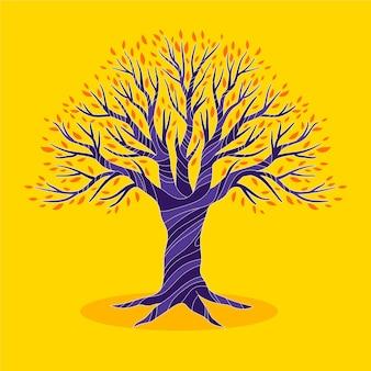 Vida arbórea dibujada a mano sobre fondo amarillo