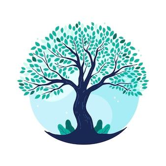 Vida arbórea dibujada a mano en tonos azules