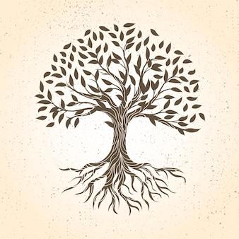 Vida arbórea dibujada a mano en tonos marrones.