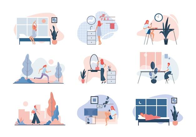La vida cotidiana de la mujer moderna. ilustración plana