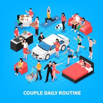 La vida cotidiana de la pareja cocinando y trabajando juntos bailando de compras y durmiendo ilustración isométrica azul