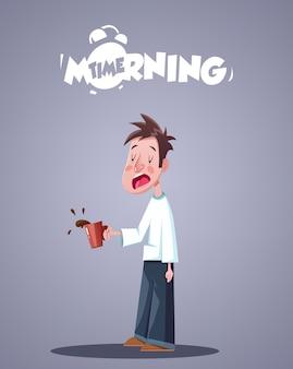 Vida diaria de la mañana. bostezo hombre soñoliento con taza de café. ilustración vectorial