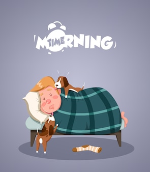 Vida diaria de la mañana. perros intentando despertar al dueño. ilustración vectorial