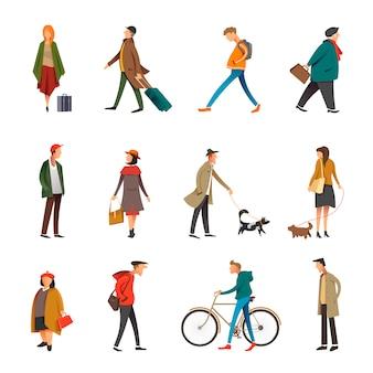 La vida diaria de las personas al aire libre en ropa casual vector conjunto de caracteres planos