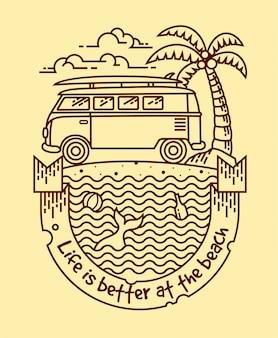 La vida es mejor ilustración lineal