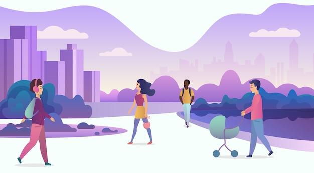 La vida en la ilustración moderna de la ciudad ecológica