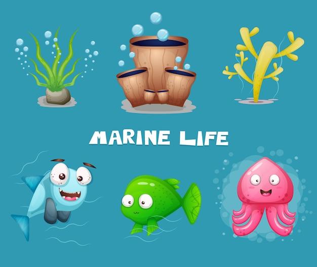 Vida marina de dibujos animados