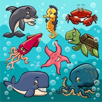 Vida marina, pez, caricatura, conjunto colección de ilustraciones