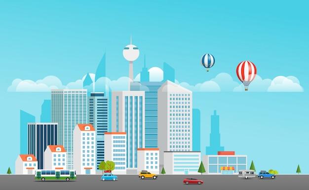 La vida moderna de la ciudad. barrio moderno con transporte.