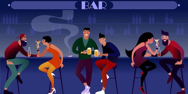 Vida nocturna, los millennials beben cerveza en el bar nocturno. ilustración plana