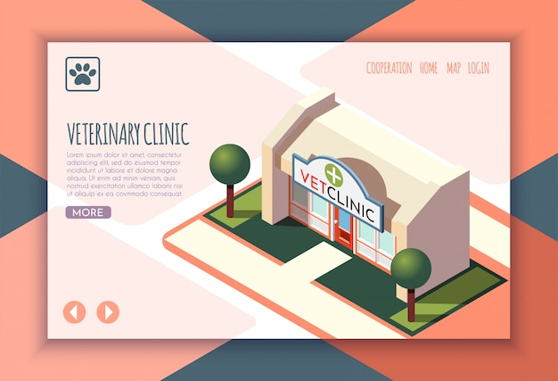 La vida ordinaria del hombre y la página de inicio isométrica de su perro con el título de la clínica veterinaria y la ilustración de los enlaces
