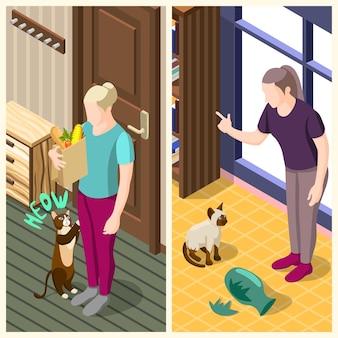 La vida ordinaria del hombre y su gato pancartas isométricas verticales con el interior de la casa aislado ilustración vectorial