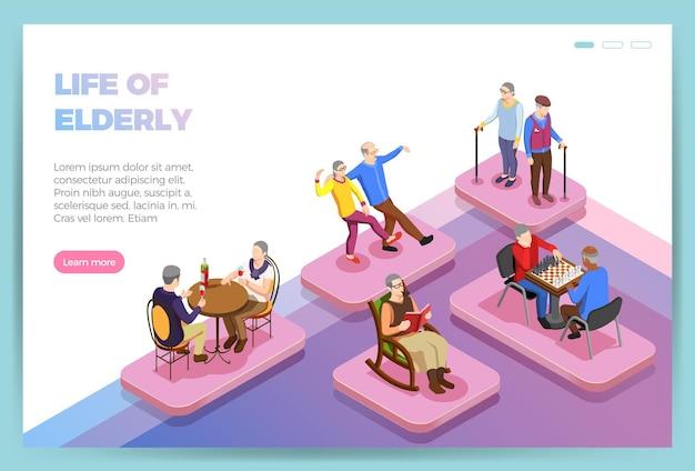 La vida de las personas mayores isométrica página de inicio del sitio web