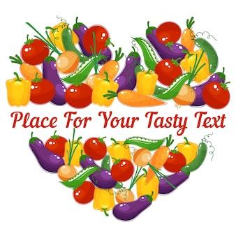 Vida saludable. corazón de vector de verduras con espacio para texto