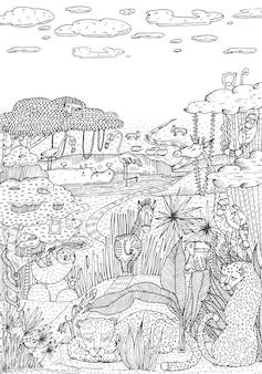 Vida salvaje en la jungla dibujada en estilo de arte lineal. diseño de página de libro para colorear. ilustración vectorial